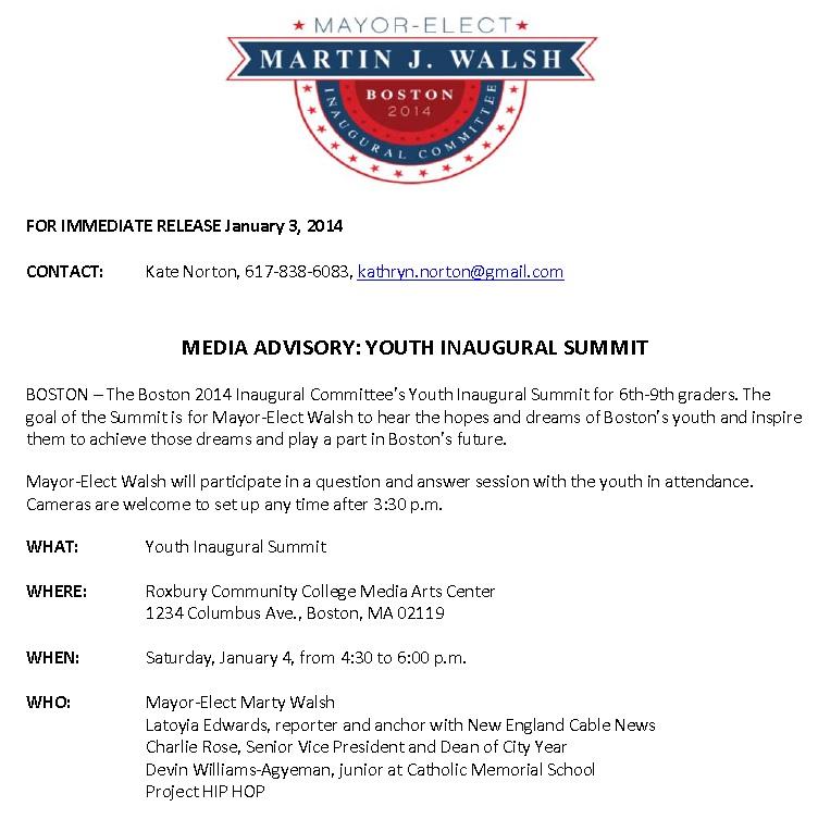 Mayor Walsh inauguration media advisory